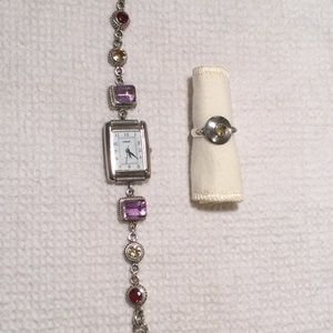 Vintage Sterling Silver Jewel Watch & Citrine Ring